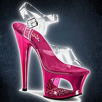 Pleaser MOON-708DMCH Klar-Fuchsia Chrom