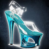 Pleaser MOON-708DMCH Klar-Turquoise Chrom