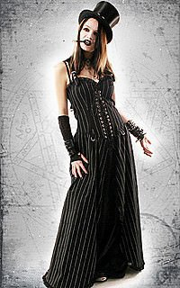 Punk Long Dress Kleid, Pin Stripe
