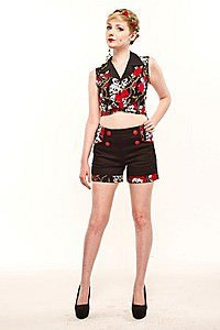 Rose and Skull Gothic Hotpants
