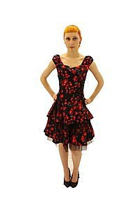 Rose Layered Gothic Pinup Kleid