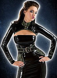 Rubber Mini Jacket and Belt Latex Bolero