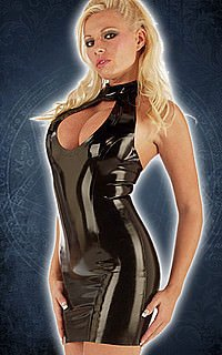 Rubber Teardrop Mini Dress Kleid, Latex