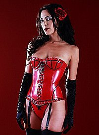 Rubber Vintage Flame Corset - Red Latex