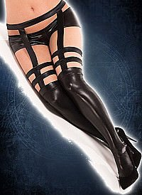 Strappy Stockings with Garter Belt Wetlook