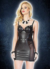 Studded Dress Black Wetlook