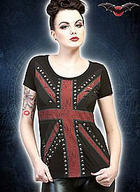 Union Jack-Shirt mit Nieten