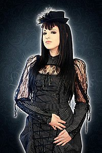 Victorian pinstripe long sleeved lace Bluse