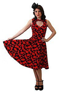 Vintage Red Hearts Pinup Kleid