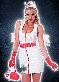 White Nurse Dress Lack Kleid